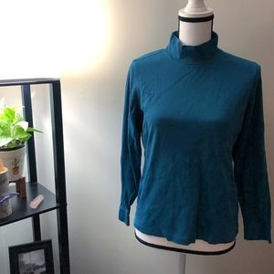 L.L. Bean Blue Turtleneck Long Sleeve Shirt